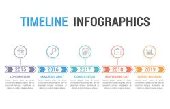 Timeline Infographics. With arrows with 5 steps Stock Image