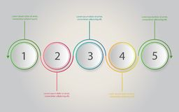 Timeline infographics. Business concept with 5 steps, number opt stock illustration