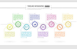 Timeline infographics design with circular element, icons and te. Xt boxes. Vector illustration eps 10 Royalty Free Stock Photos