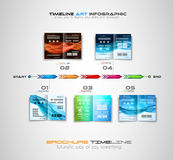 Timeline with Infographics design elements for brochures, data display. Infocharts, business backgrounds Royalty Free Stock Images