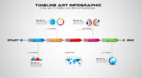 Timeline with Infographics design elements for brochures, vector illustration