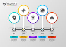 Timeline infographics design template with circles. Vector Stock Photos