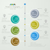 Timeline infographics design template with icons Stock Photography