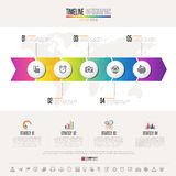 Timeline Infographics Design Template. With icons set , Vector eps10 . Elements of this image furnished by NASA royalty free illustration
