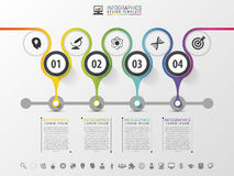 Timeline infographics design template with numbers. Royalty Free Stock Images