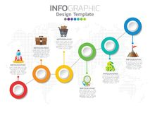 Timeline infographics design template with options, process diagram, vector eps10 illustration. 6 step of timeline infographics design template with options stock illustration