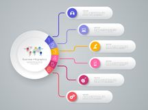 Timeline infographics design vector and business icons with 6 options. Infographics design vector and marketing icons can be used for workflow layout, diagram vector illustration