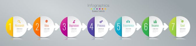 Timeline infographics design vector and marketing icons, Business concept with 7 options, steps or processes. Infographics design vector and marketing icons can royalty free illustration