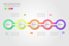 Timeline infographics design vector and marketing icons can be u. Sed for workflow layout, diagram, annual report, web design. Business concept with 5 options royalty free illustration