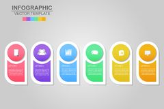 Timeline infographics design vector and marketing icons can be u. Sed for workflow layout, diagram, annual report, web design. Business concept with 6 options royalty free illustration