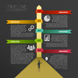 Timeline infographics, elements with icons. Vector black. Illustration Royalty Free Stock Photo