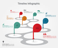 Timeline infographics with elements, icons. Vector Stock Photos