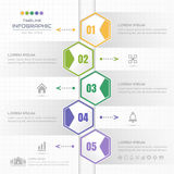 Timeline infographics Hexagon design template with icons, process Stock Photography