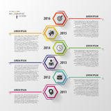 Timeline infographics. Hexagonal design template. Vector