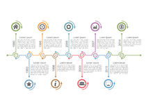 Timeline Infographics. Horizontal timeline infographics design template Royalty Free Stock Image