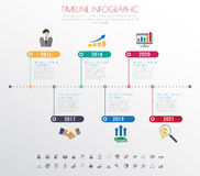 Timeline infographics with icons set. Stock Image
