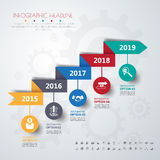 Timeline infographics with icons set. Stock Images