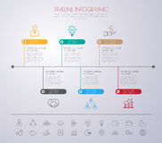 Timeline infographics with icons set. Royalty Free Stock Images