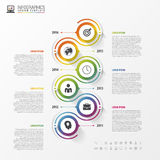 Timeline infographics template. Colorful modern design. Vector Stock Image