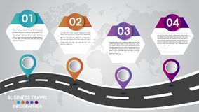 Timeline Infographics template 4 options design with a road way and navigational pointers place for your data.Vector illustration. royalty free stock images