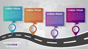 Timeline Infographics template 4 options design with a road way and navigational pointers place for your data.Vector illustration. stock image