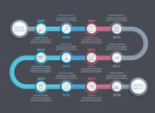 Timeline Infographics. Template with 12 steps, workflow, process, history diagram Vector Illustration