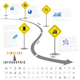 Timeline infographics traffic signs with elements and set of icons Royalty Free Stock Image