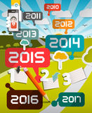 Timeline Infographics Vector Illustration. With Years Titles and Landscape on Background Royalty Free Stock Images