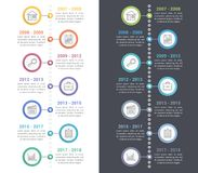 Timeline Infographics. Vertical timeline infographics template with line icons, workflow or process diagram, white and dark backgrounds Stock Image
