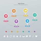 Timeline map pointer Royalty Free Stock Images
