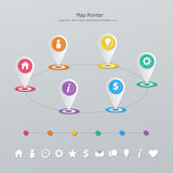 Timeline map pointer Stock Photography