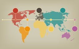 Timeline map of the world in soft vintage halftones Royalty Free Stock Photography