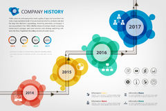 Timeline & milestone company history infographic in  style Royalty Free Stock Image