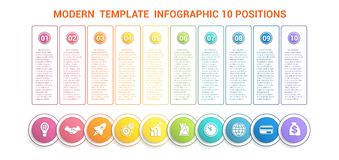 Timeline modern template infographic for business 10 steps, proc. Esses, options, parts. Colorful round numbered buttons and circles with icons, also a place for Stock Illustration