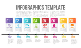 Timeline or options infographics template with 8 steps. Bright and colorful timeline template with 8 steps or options for presentation of history or key features Royalty Free Stock Photography