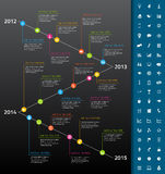 Timeline with rainbow milestones and icons on dark Royalty Free Stock Photography