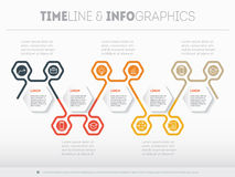 Timeline or report with icons set. Vector infographic of technol Stock Photography