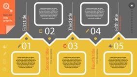 Timeline som är infographic med diagrammet och text stock illustrationer