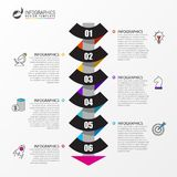 Timeline with 6 steps. Infographic design template Stock Photos