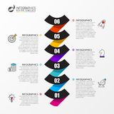 Timeline with 6 steps. Infographic design template. Business concept. Vector illustration royalty free illustration