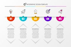 Timeline with 5 steps. Infographic design template. Vector. Illustration Vector Illustration