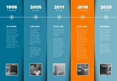 Timeline template with blue blocks and photo placeholders Royalty Free Stock Photos
