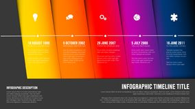 Timeline template with blue diagonal blocks royalty free illustration