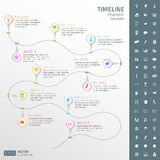 Timeline template in sticker style with set of ico Stock Images