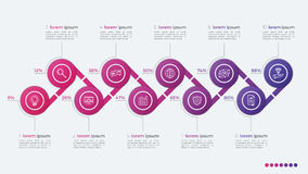 Timeline vector infographic design with ellipses 10 steps Stock Image