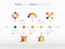 Timeline vector infographic with diagrams and text. Can be used Royalty Free Stock Photo