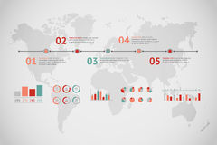 Timeline vector infographic. World map Stock Image