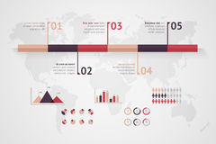 Timeline vector infographic. World map Royalty Free Stock Images
