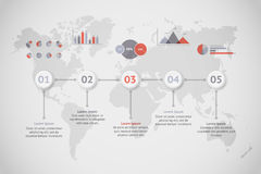 Timeline vector infographic. World map Stock Images