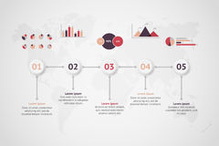 Timeline vector infographic. World map Royalty Free Stock Photo